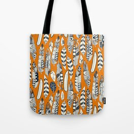 joyful feathers orange Tote Bag