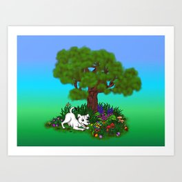 Spring-awakening - Puppy Capo and Butterfly Art Print