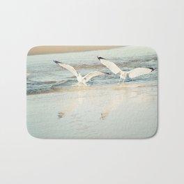Seagull Beach Photography, Shore Birds Art, Pale Blue Ocean Bird Print, Coastal Photo Bath Mat