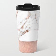 Rose gold marble and foil Metal Travel Mug