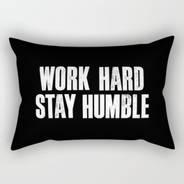 Work Hard, Stay Humble black and white monochrome typography poster design home decor bedroom wall Rectangular Pillow