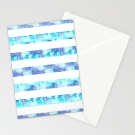 Blue & Purple Watercolor Stripes Stationery Cards