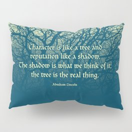 Tree of Character VINTAGE BLUE / Deep thoughts by Abe Lincoln Pillow Sham