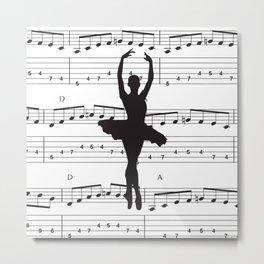 ballerina art, music Notes , girls nursery art, ballerina décor , girls nursery art , Metal Print
