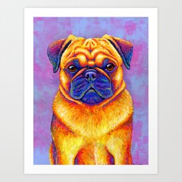 Comic Relief -  Colorful Pug Art Print