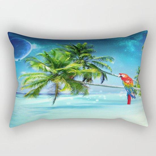 Parrot in the beach Rectangular Pillow