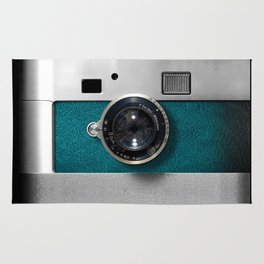 Classic retro Blue Teal Leather silver Germany vintage camera iPhone 4 4s 5 5c, ipod, ipad case Rug