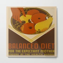 Vintage poster - Balanced Diet for the Expectant Mother Metal Print