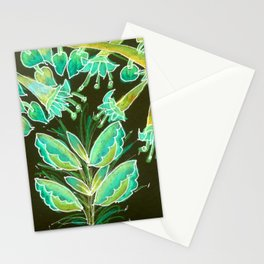 Irish Garden, Lime Green Flowers Dance in Joy Stationery Cards