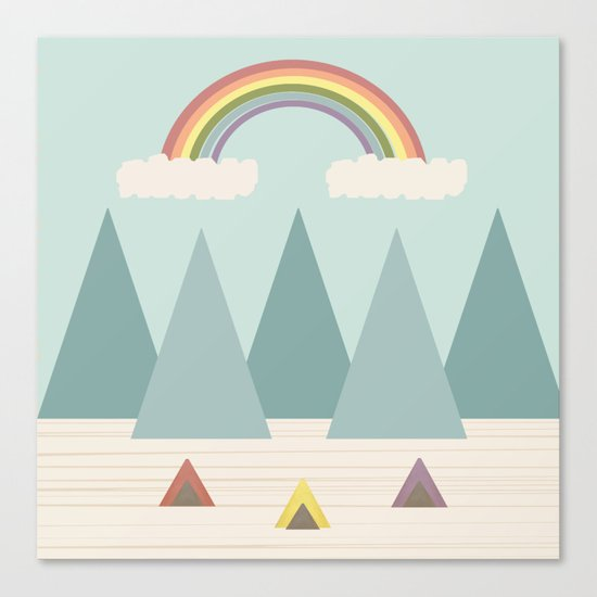 Camping Under the Rainbow Canvas Print