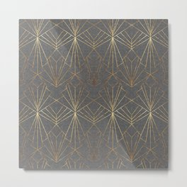 Art Deco in Gold & Grey Metal Print