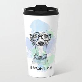 Greyhound with glasses Metal Travel Mug
