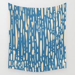 Ice Melt Stripes - Orange Sherbet on Saltwater Taffy Teal Wall Tapestry
