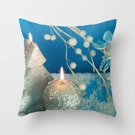 Photography Candle Christmas Silver Blue Throw Pillow