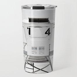 Black and White Beach Photography, Grey Lifeguard Stand, Gray Coastal Nautical Art Travel Mug