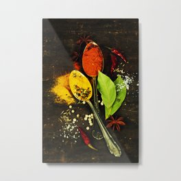 Bright spices on an old  wooden board Metal Print