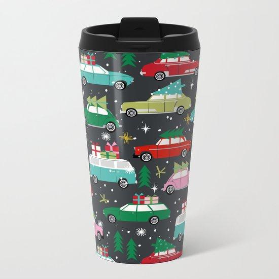 Christmas pattern print vintage cars holiday gifts presents christmas trees cute decor Metal Travel Mug