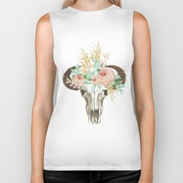 Bohemian bull skull with flowers Biker Tank