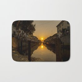 Sunset on the Naviglio Grande in the center of Milan Bath Mat
