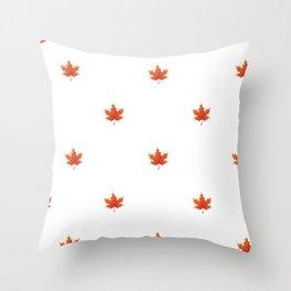 Minimalist Orange Maple Leaf Pattern - Fall Fun Throw Pillow