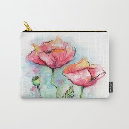Poppies Watercolor Sketch Red Flowers Carry-All Pouch