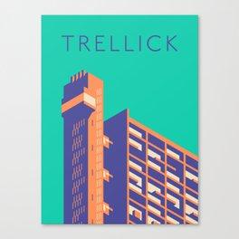 Trellick Tower London Brutalist Architecture - Text Turquoise Canvas Print