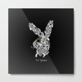 T.F TRAN CLASSIC FLORALS EASTER BUNNY BLACK EDITION Metal Print