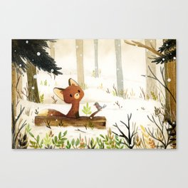 Little fox and winter Canvas Print