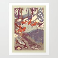 vintage map Art Prints featuring Fisher Fox by Teagan White