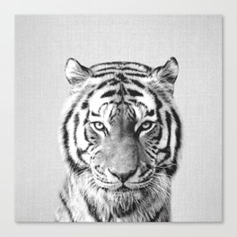 Tiger - Black & White Canvas Print
