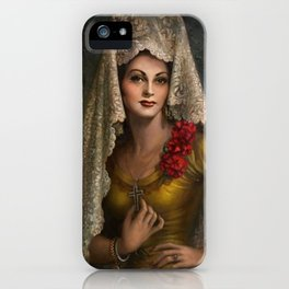 Spanish Beauty with Lace Mantilla and Comb by Jesus Helguera iPhone Case