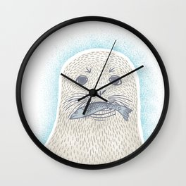 Happy seal pup with fish Wall Clock