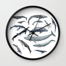 Whales all around Wall Clock