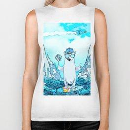 Polar bear on the surf board Biker Tank