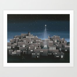 Bethlehem Night Nativity Scene Art Print