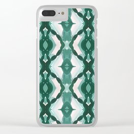 Watercolor Green Tile 1 Clear iPhone Case
