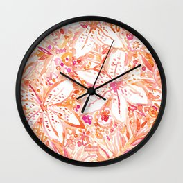 LILY SUNSET Peach Beachy Floral Wall Clock