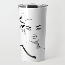 Face disgusted Fashion Illustration Version Travel Mug