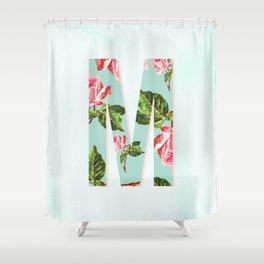 Floral Letter M - Letter Collection Shower Curtain