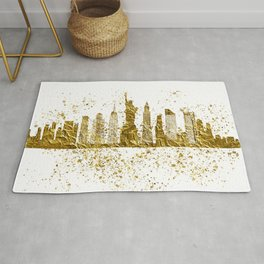 New york skyline in gold Rug