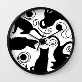 Playful Cats with Yarn Wall Clock