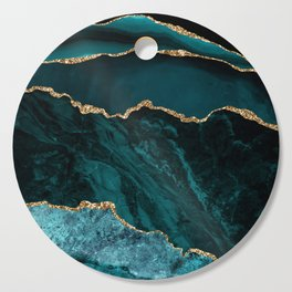 Teal Blue Emerald Marble Landscapes Cutting Board