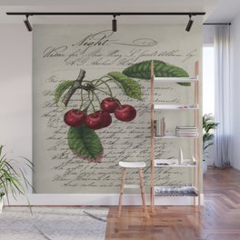 shabby elegance french country botanical illustration vintage red cherry Wall Mural
