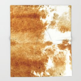 Golden Brown Cow Hide Throw Blanket