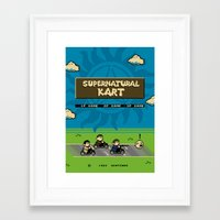 mario kart Framed Art Prints featuring Supernatural Kart by Byway
