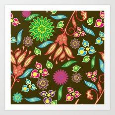 Bright Floral Fantasy Art Print