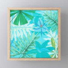 My blue abstract Aloha Tropical Flower Jungle Garden Framed Mini Art Print