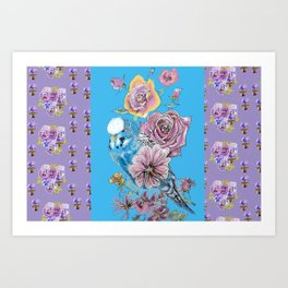 Blue budgie and Roses  - Purple Pansy Pattern Art Print