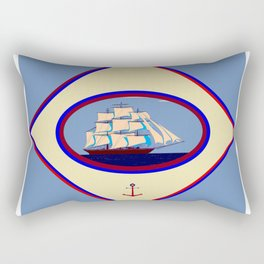 A Nautical Scene with Clipper Ship with Country Blue Background Rectangular Pillow