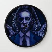 lovecraft Wall Clocks featuring Lovecraft by Mrtn Ljmn
